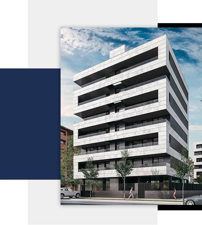 Detalle fachada promoción viviendas