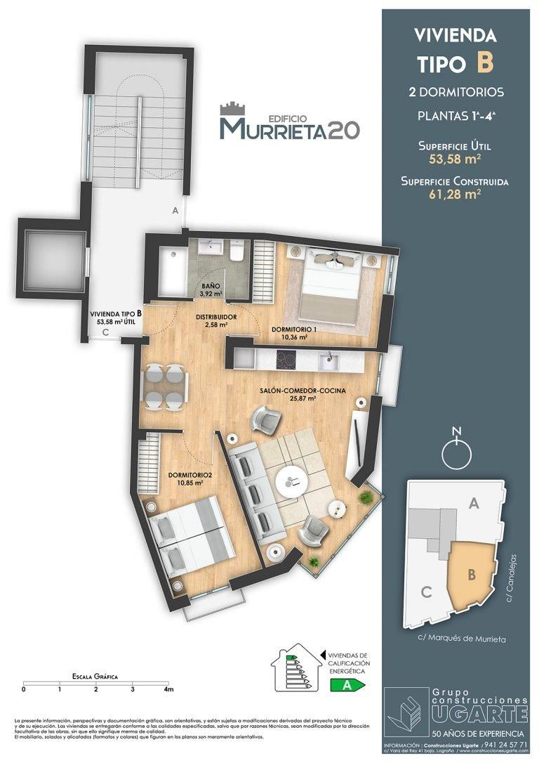 Vivienda tipo B. Edificio Murrieta 20.